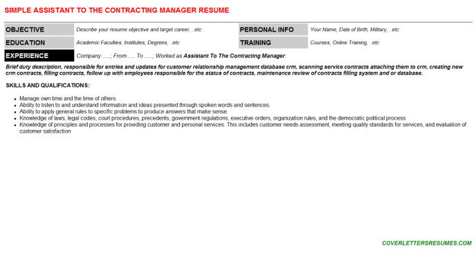 Assistant To The Contracting Manager Resume Template (#66269)