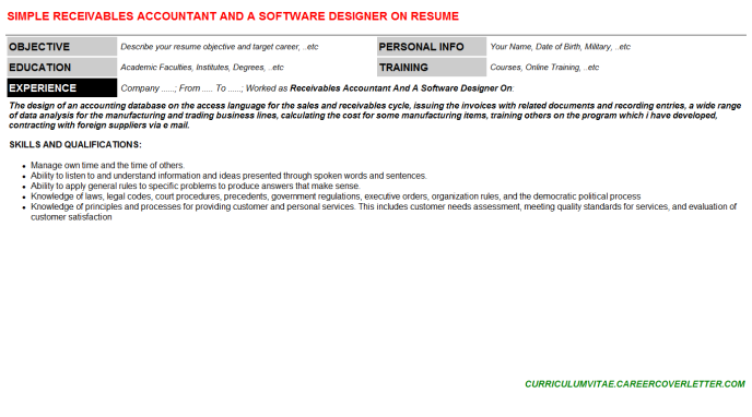 Receivables Accountant And A Software Designer On Resume Template