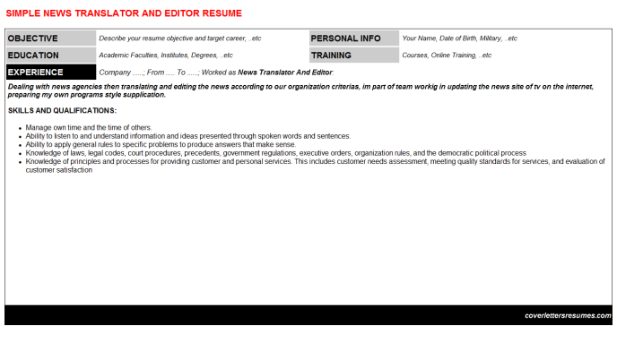 News Translator And Editor CV Cover Letter & Resume Template (#1271)