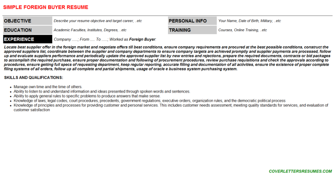 Foreign Buyer Resume Template