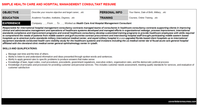 Health Care And Hospital Management Consultant Resume Template