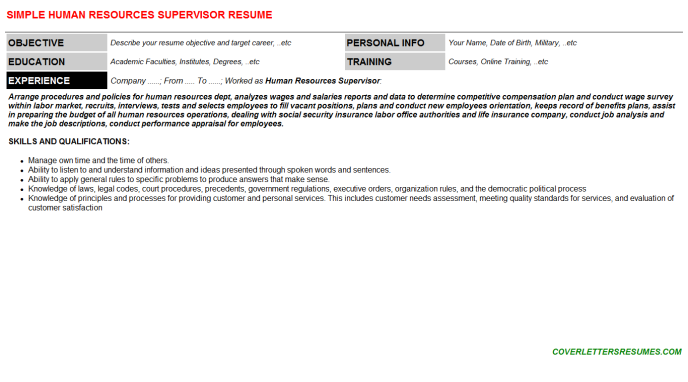 Human Resources Supervisor Resume Template