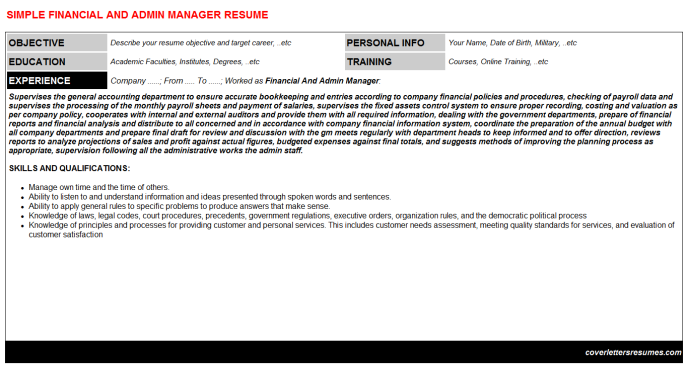 Financial And Admin Manager Resume Template