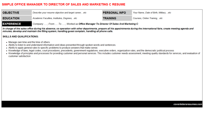 Office Manager To Director Of Sales And Marketing C Resume Template (#9776)