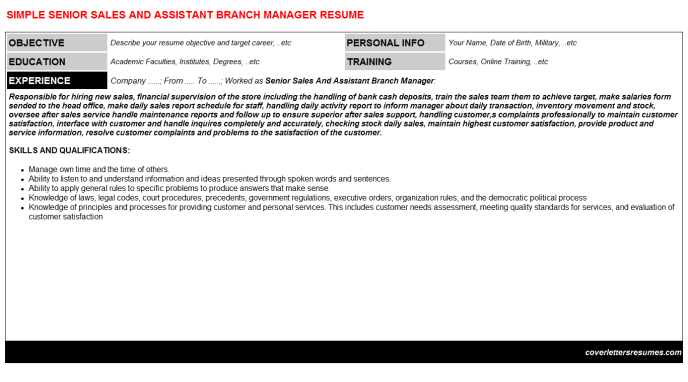 Senior Sales And Assistant Branch Manager CV Cover Letter ...