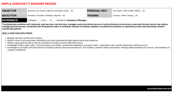 Assistant It Manager Resume Template (#16277)