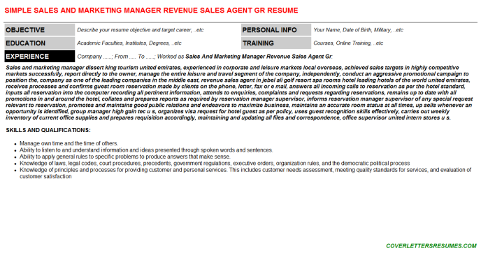 Sales And Marketing Manager Revenue Sales Agent Gr CV Cover ...