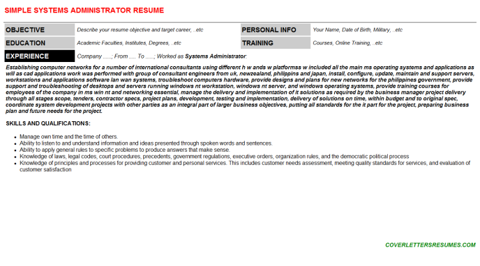 Systems Administrator Resume Template (#72777)
