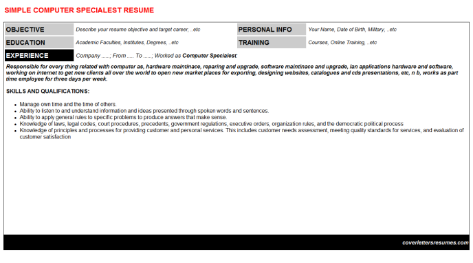Computer Specialest Resume Template (#278)