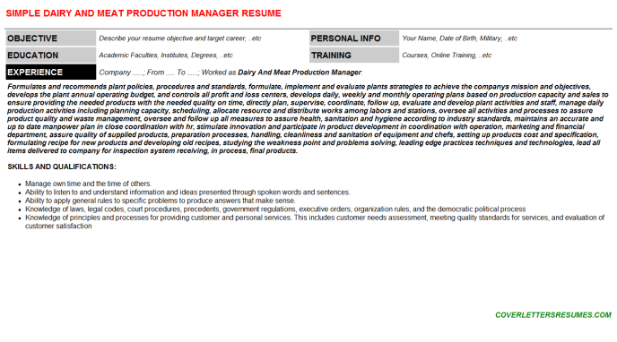 Dairy And Meat Production Manager CV Cover Letter & Resume ...