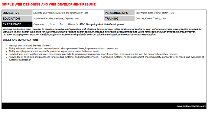 Web Designing And Web Development CV Resume