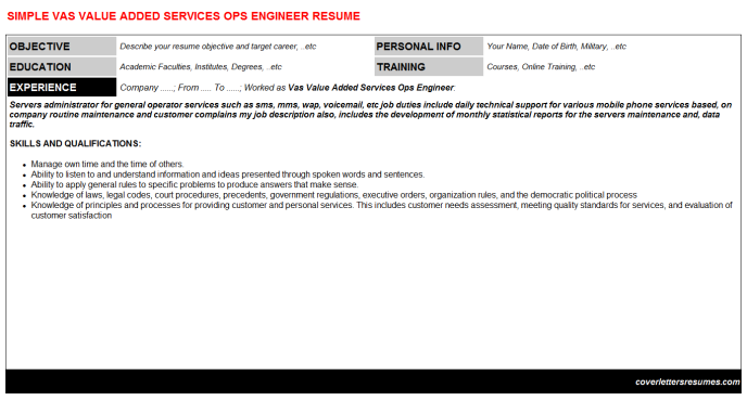 Vas Value Added Services Ops Engineer Resume Template