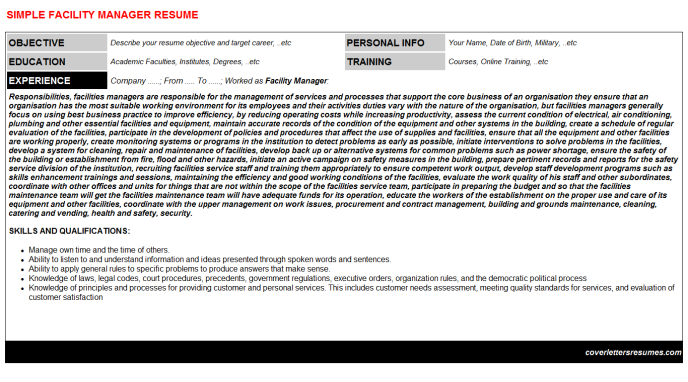 Facility Manager CV Cover Letter & Resume Template