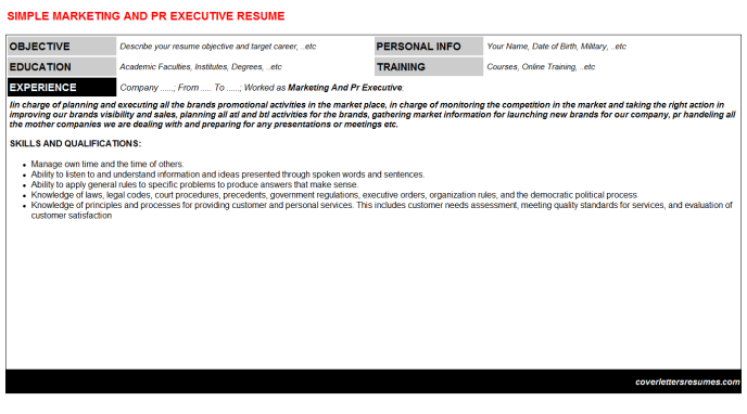 Marketing And Pr Executive Resume Template