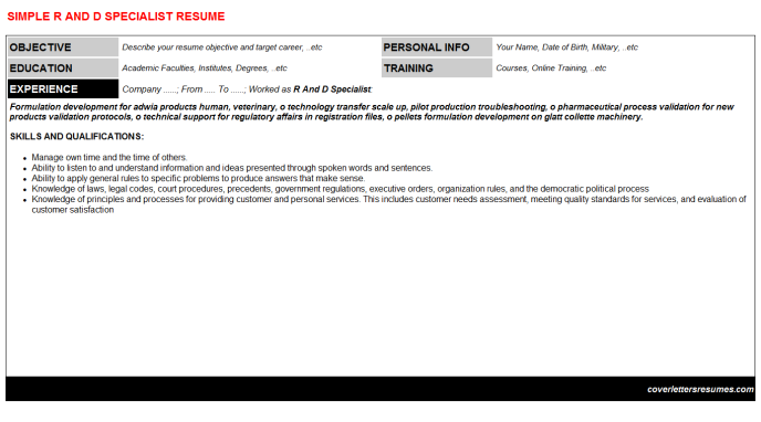 R And D Specialist Resume Template