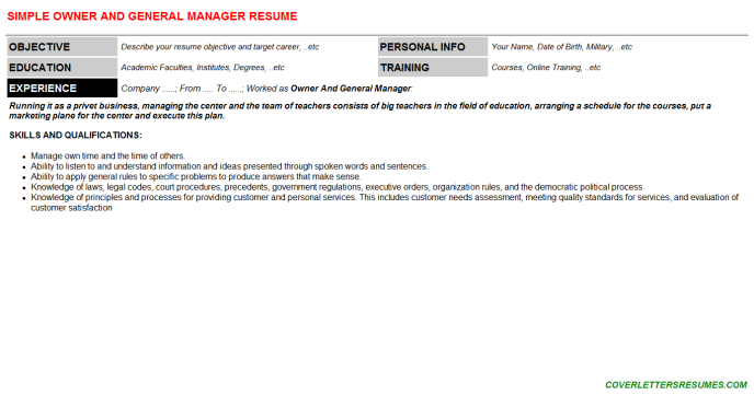 Owner And General Manager Resume Template