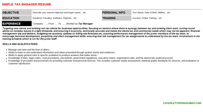 Tax Manager Resume Template