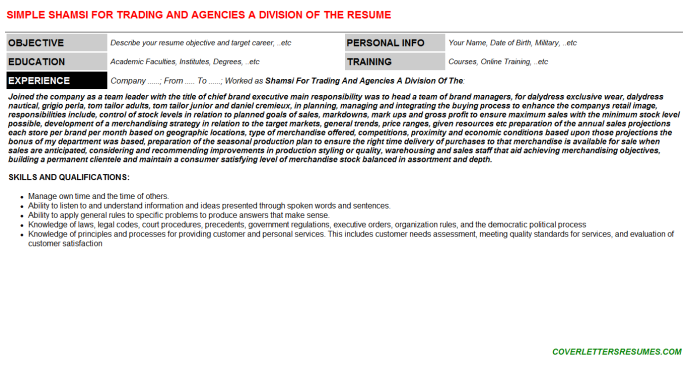 Shamsi For Trading And Agencies A Division Of The Resume Template (#65287)