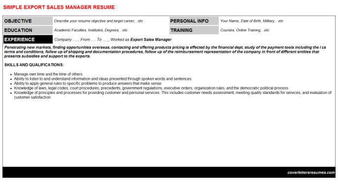 Export Sales Manager Resume Template