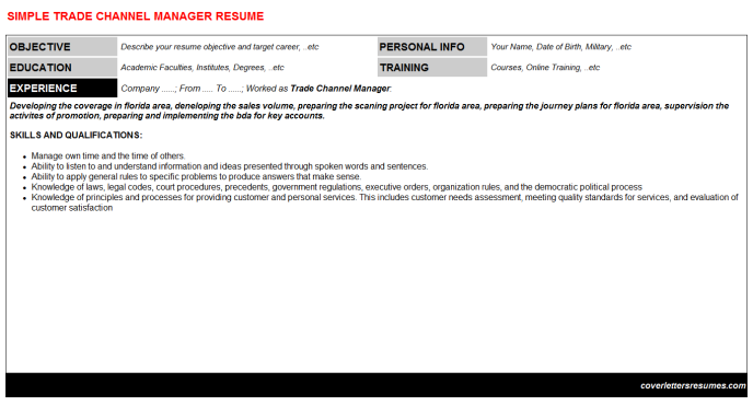 Trade Channel Manager Resume Template