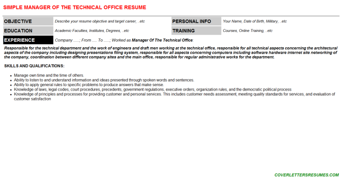 Manager Of The Technical Office Resume Template (#290)