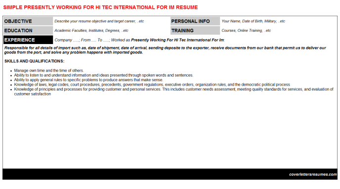 Presently Working For Hi Tec International For Im Resume Template (#35790)