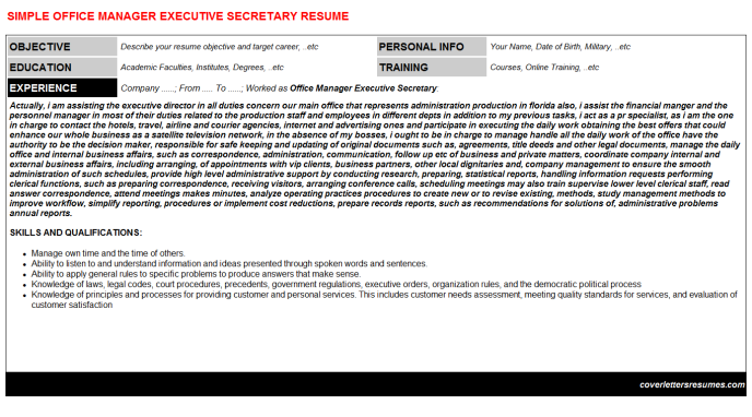 Office Manager Executive Secretary Resume Template (#2292)