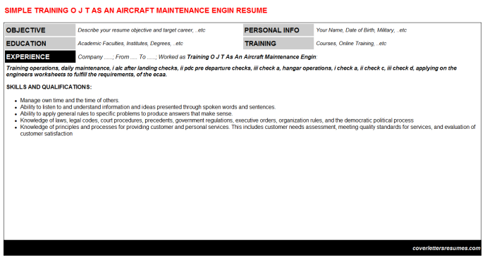 Training O J T As An Aircraft Maintenance Engin Cover Letter