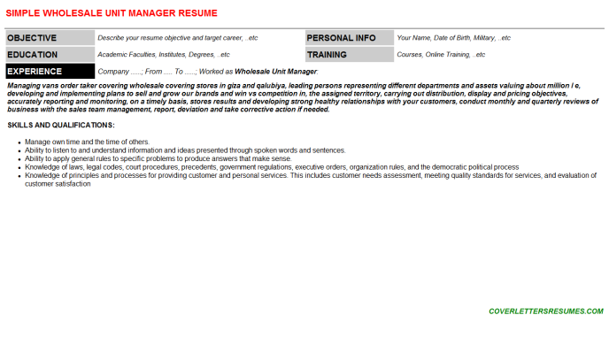 Wholesale Unit Manager Resume Template (#139792)