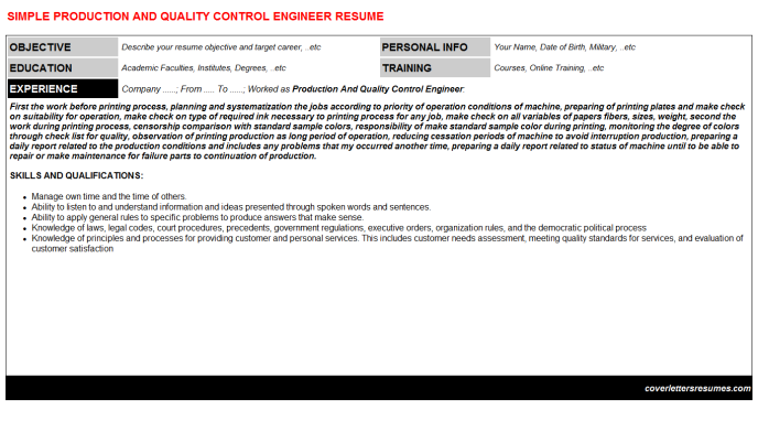 Production And Quality Control Engineer Resume Template (#29793)