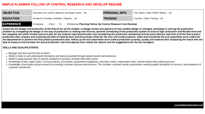 Planning Follow Up Control Research And Develop Resume Template