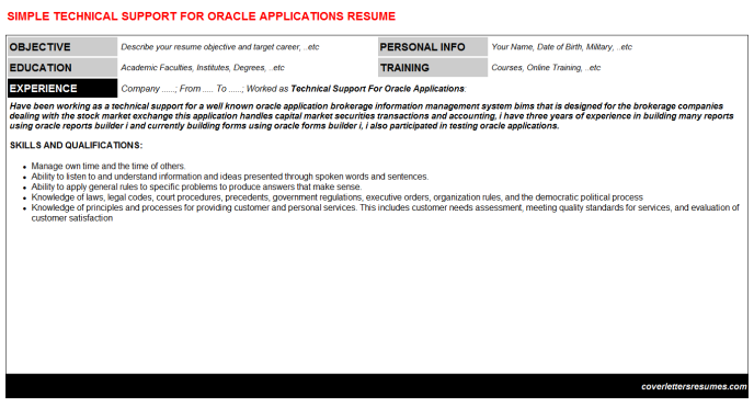 Technical Support For Oracle Applications Resume Template