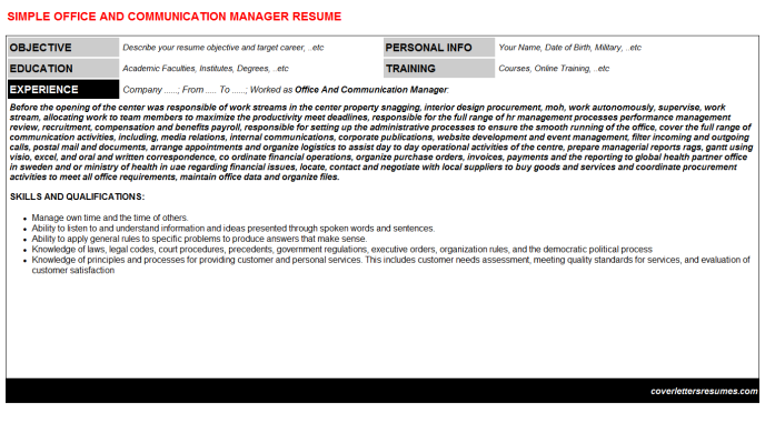 Office And Communication Manager Resume Template