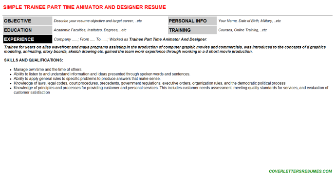 Trainee Part Time Animator And Designer CV Cover Letter ...