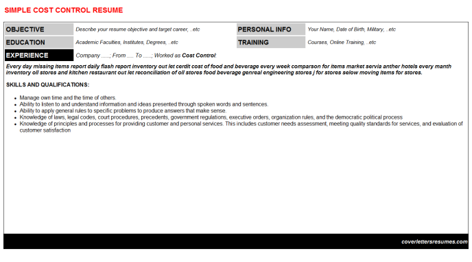 Cost Control Resume Template (#9797)