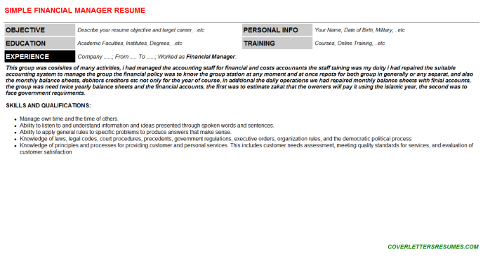 Financial Manager CV Cover Letter & Resume Template (#131797)