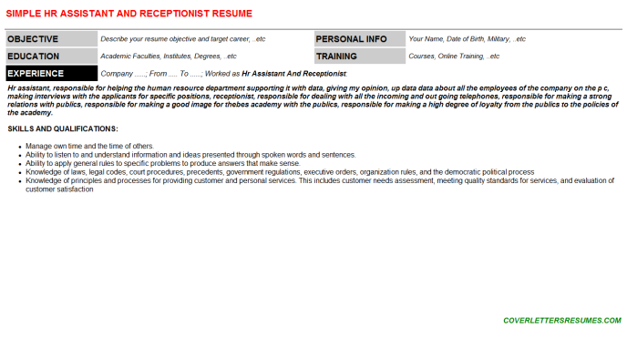 Hr Assistant And Receptionist Resume Template (#68797)
