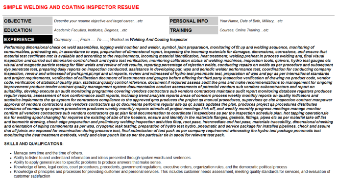 Welding And Coating Inspector CV Cover Letter & Resume Template | CV ...