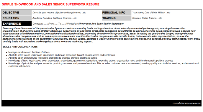 Showroom And Sales Senior Supervisor Resume Template (#298)