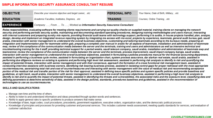 Information Security Assurance Consultant Job Letter & Resume