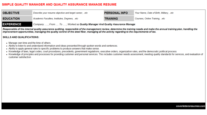 Quality Manager And Quality Assurance Manage CV Resume