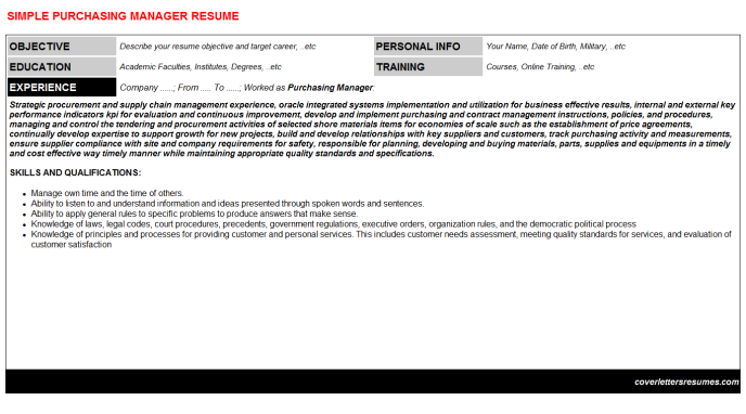 Purchasing Manager Resume Template (#137301)