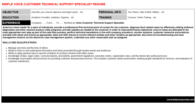 Voice Customer Technical Support Specialist Resume Template (#19801)