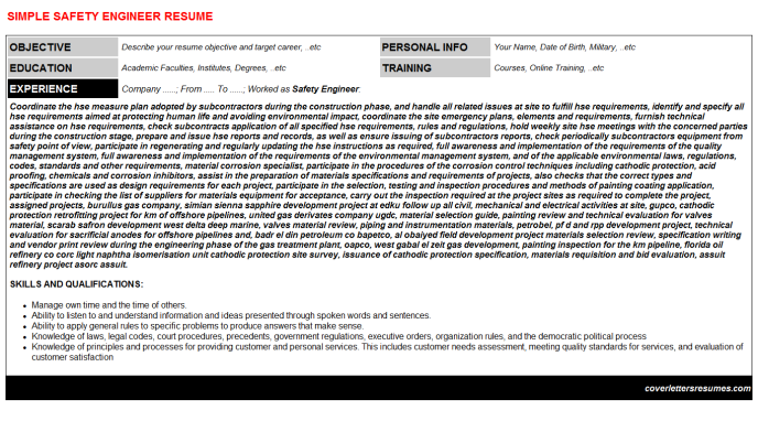 Safety Engineer Resume Template (#302)