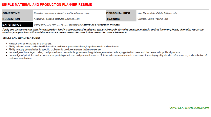 Material And Production Planner Resume Template