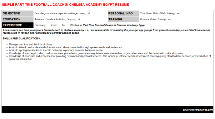 Part Time Football Coach In Chelsea Academy Egypt Resume Template
