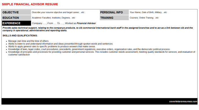 Financial Advisor Resume Template (#2305)
