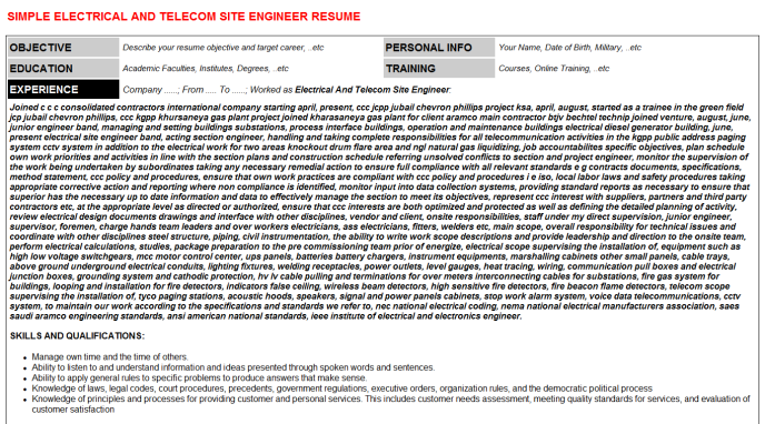 Electrical And Telecom Site Engineer Job Letter & Resume ...