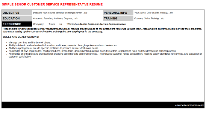 Senior Customer Service Representative Resume Template