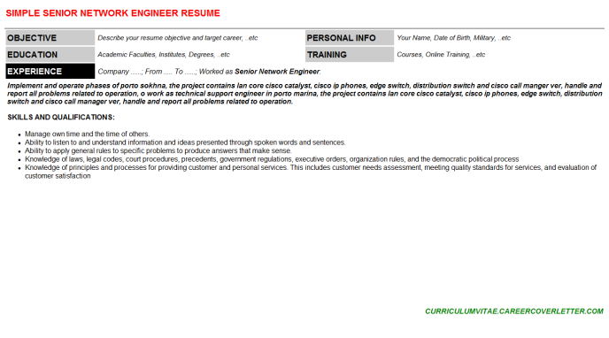 Senior Network Engineer CV Cover Letter & Resume Template ...